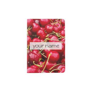 Capa Para Passaporte a cereja vermelha bonito deliciosa frutifica