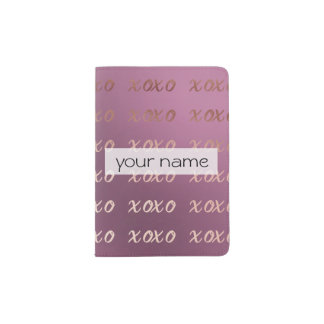 Capa Para Passaporte a tipografia cor-de-rosa do ouro do falso abraça e