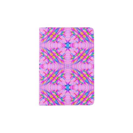 Capa Para Passaporte Abstrato do teste padrão do caleidoscópio do rosa