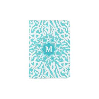 Capa Para Passaporte Azul náutico do Aqua do monograma | da estrela do