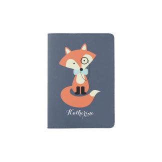 Capa Para Passaporte Fox bonito do hipster com Monocle e laço