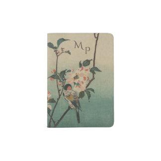 Capa Para Passaporte Ilustração do pássaro e da flor do vintage