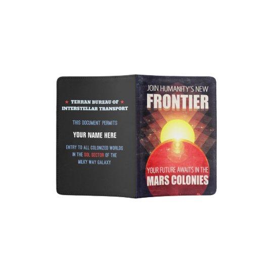 Capa Para Passaporte Ilustração futurista da colonização de Marte