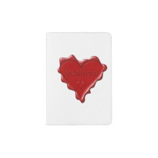 Capa Para Passaporte Kathryn. Selo vermelho da cera do coração com