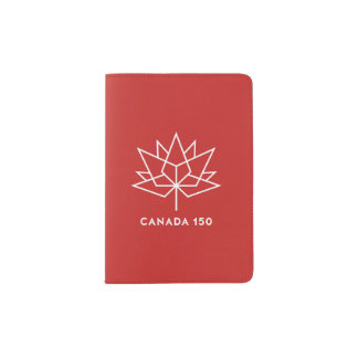 Capa Para Passaporte Logotipo do oficial de Canadá 150 - vermelho e