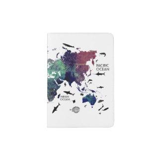 Capa Para Passaporte Mapa do mundo dos suportes & dos cobrir do