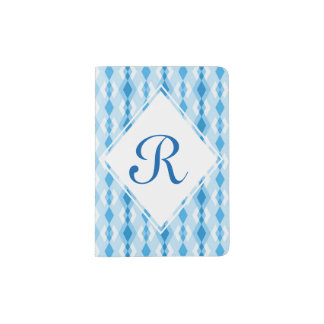 Capa Para Passaporte Monograma azul do diamante