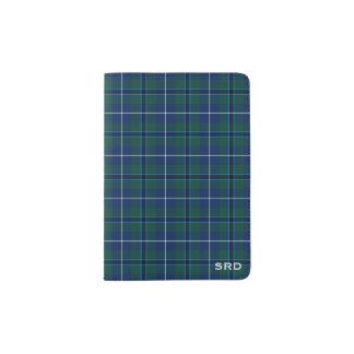 Capa Para Passaporte Monograma azul escuro e verde do clã de Douglas do
