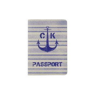 Capa Para Passaporte Monograma rústico náutico do viagem da âncora