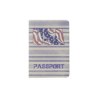 Capa Para Passaporte Os EUA embandeiram o monograma rústico do viagem