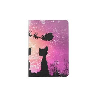 Capa Para Passaporte Os gatos olham ao céu a Papai Noel
