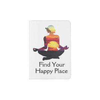 Capa Para Passaporte Por do sol feliz da pose da ioga do lugar