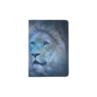 Capa Para Passaporte Rei Moderno Azul escuro Passaporte Suporte do leão