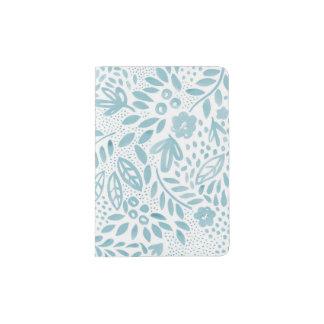 Capa Para Passaporte Suporte floral azul do passaporte do Belle