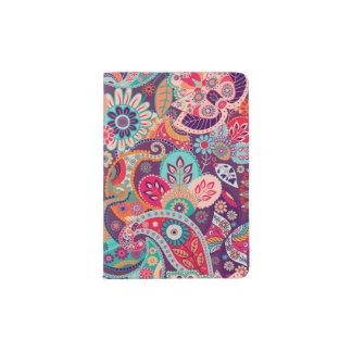 Capa Para Passaporte Teste padrão floral de néon cor-de-rosa de Paisley