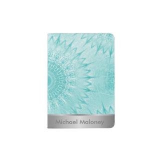 Capa Para Passaporte Teste padrão metálico da mandala de turquesa