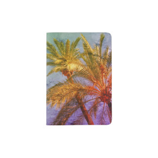 Capa Para Passaporte Vintage tropical das palmeiras