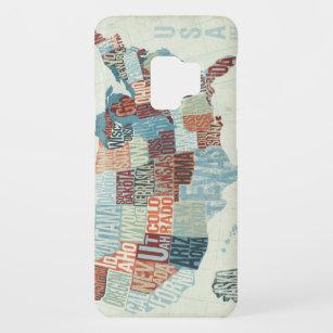 Capa Para Samsung Galaxy S9 Case-Mate Mapa dos EUA com estados nas palavras