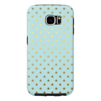 Capa Para Samsung Galaxy S6 A estrela metálica da folha do ouro Stars o Aqua