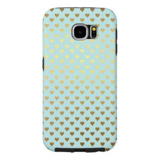 Capa Para Samsung Galaxy S6 Aqua metálico da cerceta do amor do coração da