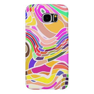 Capa Para Samsung Galaxy S6 Arte abstracta colorida, linhas brancas das formas