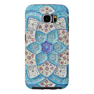 Capa Para Samsung Galaxy S6 Azul de turquesa marroquino tradicional, branco,