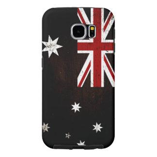 Capa Para Samsung Galaxy S6 Bandeira preta 2 de Austrália do Grunge