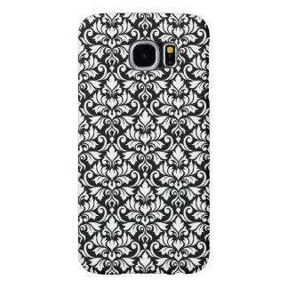 Capa Para Samsung Galaxy S6 Branco da cor damasco do Flourish no preto
