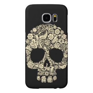 Capa Para Samsung Galaxy S6 Caixa floral da galáxia S6 de Samsung do crânio do