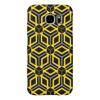 Capa Para Samsung Galaxy S6 Caixa geométrica preta e amarela do teste padrão