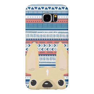 Capa Para Samsung Galaxy S6 Caso geométrico do amor do buldogue francês