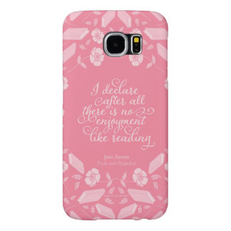 Capa Para Samsung Galaxy S6 Citações Bookish florais de Jane Austen do orgulho
