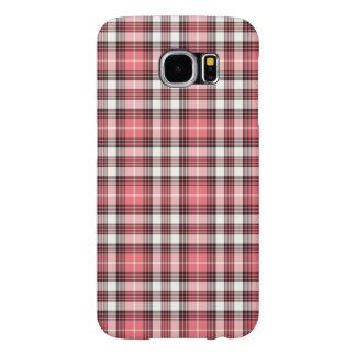 Capa Para Samsung Galaxy S6 Coral cor-de-rosa, xadrez feminino preto e branco