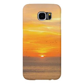 Capa Para Samsung Galaxy S6 Costa do por do sol com Sun alaranjado e pássaros
