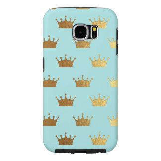 Capa Para Samsung Galaxy S6 Da coroa metálica da folha do ouro Aqua real da