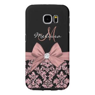 Capa Para Samsung Galaxy S6 Damasco cor-de-rosa do preto do brilho do ouro,