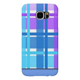 Capa Para Samsung Galaxy S6 Design azul & roxo da xadrez
