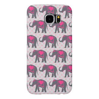 Capa Para Samsung Galaxy S6 Elefantes cor-de-rosa quentes cinzentos bonito em