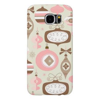 Capa Para Samsung Galaxy S6 Enfeites de natal cor-de-rosa & cinzentos do