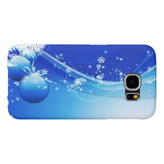 Capa Para Samsung Galaxy S6 Enfeites de natal e flocos de neve azuis
