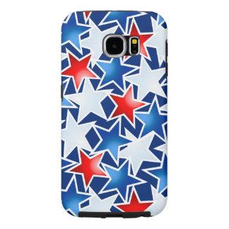 Capa Para Samsung Galaxy S6 Estrelas brancas e azuis vermelhas