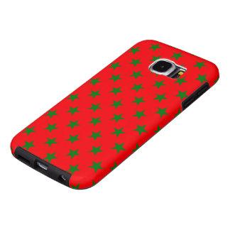 Capa Para Samsung Galaxy S6 Estrelas verdes do Natal no vermelho festivo