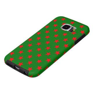 Capa Para Samsung Galaxy S6 Estrelas vermelhas no fundo do verde do Natal