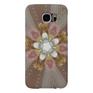 Capa Para Samsung Galaxy S6 Flor branca do ouro cor-de-rosa antigo elegante