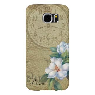 Capa Para Samsung Galaxy S6 Flores da magnólia do vintage