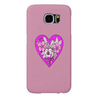 Capa Para Samsung Galaxy S6 Flores em um coração