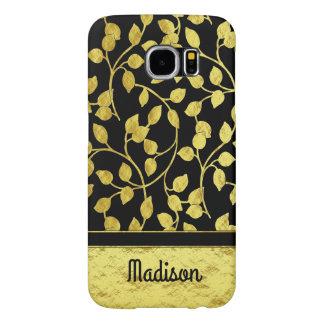 Capa Para Samsung Galaxy S6 Folhas botânicas da folha de ouro do falso,