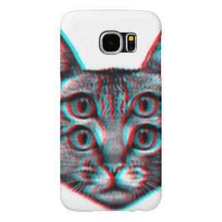 Capa Para Samsung Galaxy S6 Gato 3d, 3d gato, gato preto e branco