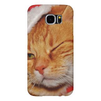 Capa Para Samsung Galaxy S6 Gato alaranjado - gato de Papai Noel - Feliz Natal