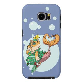 Capa Para Samsung Galaxy S6 Gato da sereia do Natal